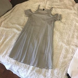 Striped Black and White Off the Shoulder H&M Dress